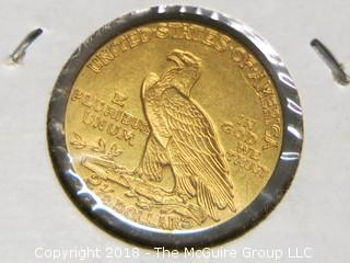 1913 TWO AND 1/2 DOLLAR U.S. GOLD COIN