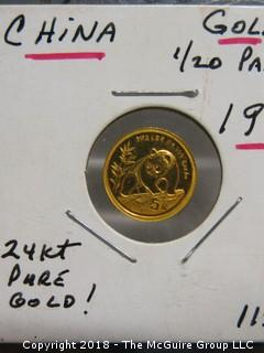 1990 CHINESE GOLD COIN; 1/20 OZ. PANDA