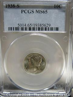 1938 S MERCURY DIME; SLABBED AND GRADED MS 65 BY PCGS