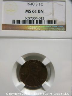 1940 S PENNY; SLABBED AND GRADED MS 61 BY NGC