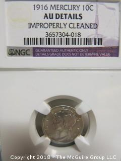 1916 MERCURY DIME; SLABBED BUT DEEMED IMPROPERLY CLEANED BY NGC