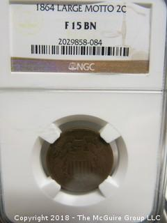 1864 LARGE MOTTO 2 CENT COIN; SLABBED AND GRADED F15 BN BY NGC