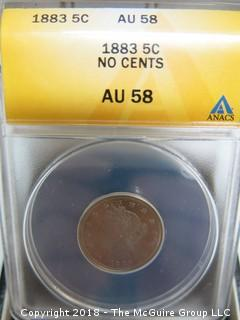 1883 5 CENT COIN; AU-58; SLABBED BY ANACS