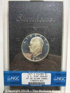 1971 S EISENHOWER SILVER DOLLAR; U.S. MINT SEALED; PF 68; ULTRA CAMEO