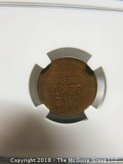 1937 D PENNY SLABBED AND GRADED AU 58 BN BY NGC