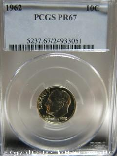 1962 10 CENT COIN; SLABBED AND GRADED PF 67 BY PCGS