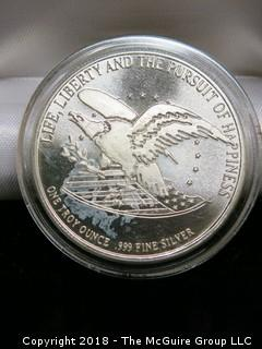 BILL OF RIGHTS SILVER COIN; 1 TR. OZ