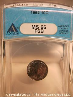 1962 MERCURY SILVER DIME; SLABBED AND GRADED MS 66 BY AWACS