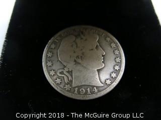 1914 S BARBER SILVER HALF DOLLAR;