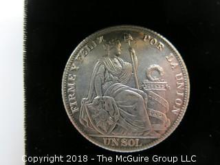 1894 PERUVIAN SILVER DOLLAR
