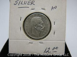 1912 SERBIAN SILVER 1 DINAR COIN