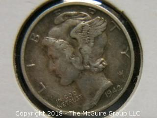 1942 S MERCURY DIME WITH FULL BANDS