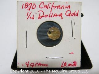 1870 CALIFORNIA 1/4 DOLLAR GOLD COIN