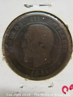 1855 NAPOLEAN III 10 CENTIMES COIN