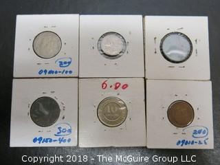 COLLECTION OF 6 FOREIGN COINS; INCLUDING BELGIUM