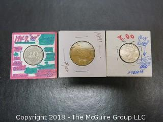 "COLLECTION OF FOREIGN COINS INCLUDING 1947 ""DOT"" CANADIAN 5 CENT, 1991 CANADIAN DOLLAR AND 1947 CANADIAN NICKEL"