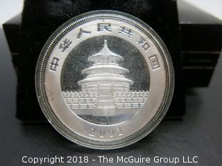 2001 PANDA SILVER 1 TR OZ COIN