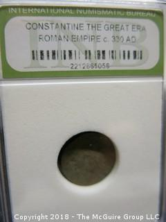 COLLECTION OF 6 SLABBED AND GRADED ROMAN EMPIRE COINS; INB
