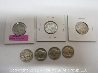 COLLECTION OF 7 BUFFALO NICKELS