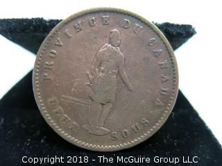1852 BANK OF QUEBEC ONE PENNY TOKEN