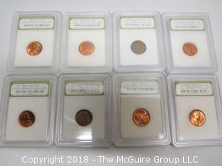 COLLECTION OF 8 LINCOLN PENNIES; SLABBED BY INB