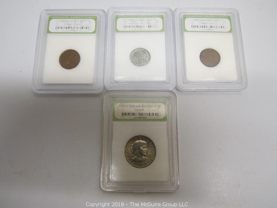 The Mcguire Group Llc Auction Collectible Online Coin Rare U S World Item Collection Of 4 Slabbed Coins By Ing 3 Pennies And 1 Dollar
