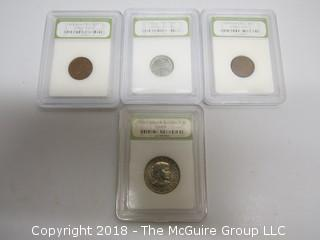 COLLECTION OF 4 SLABBED COINS BY ING; 3 PENNIES AND 1 DOLLAR SUSAN B. ANTHONY