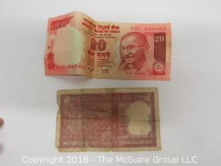 COLLECTION OF BANK NOTES INCLUDING INDIA, FRANCE, BAHAMAS, URUGUAY AND GERMANY