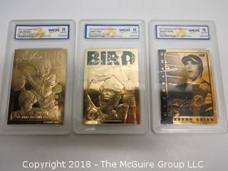 (3) 23K GOLD LEAF LIMITED EDITION SPORTS CARDS; ENCASED IN PLASTIC;  BIRD, MARINO, QUINN