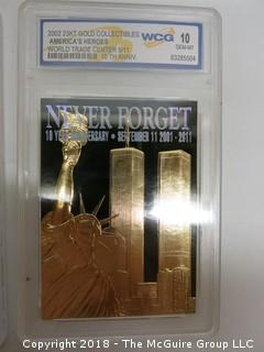 (3) 23K GOLD LEAF LIMITED EDITION COLLECTOR CARDS; ENCASED IN PLASTIC;  LADY DI, WORLD TRADE CENTER, THE TITANTIC