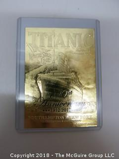 43) 23K GOLD LEAF LIMITED EDITION COLLECTOR CARDS, ENCASED IN PLASTIC;  THE ROCK, TITANIC, BEATLES AND JEFF GORDON