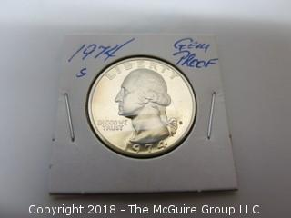 1974 S GEM PROOF U S SILVER QUARTER (NOTE: DESCRIPTION EDITED 2.11.18)