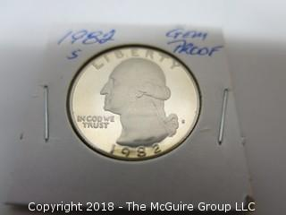 1982 S GEM PROOF U S SILVER QUARTER (NOTE: DESCRIPTION EDITED 2.11.18)