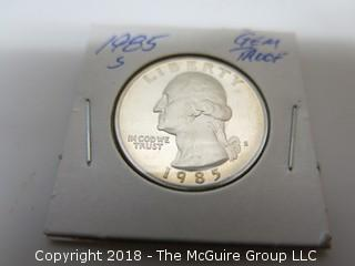 1985 S GEM PROOF U S SILVER QUARTER (NOTE: DESCRIPTION EDITED 2.11.18)