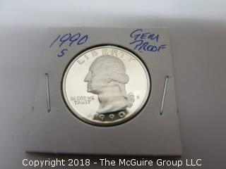 1990 S GEM PROOF U S SILVER QUARTER (NOTE: DESCRIPTION EDITED 2.11.18)
