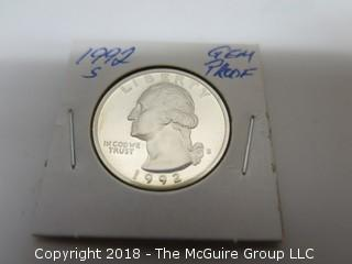 1992 S GEM PROOF U S SILVER QUARTER (NOTE: DESCRIPTION EDITED 2.11.18)