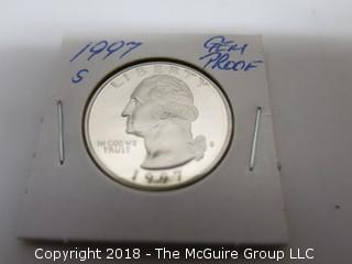 1997 S GEM PROOF U S SILVER QUARTER (NOTE: DESCRIPTION EDITED 2.11.18)