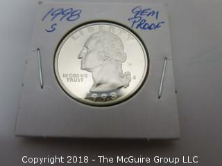 1998 S GEM PROOF U S SILVER QUARTER (NOTE: DESCRIPTION EDITED 2.11.18)