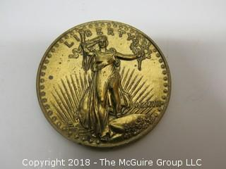 COMMEMORATIVE GOLD TONED 20 DOLLAR MEDALLION