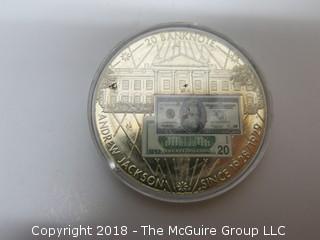 ANDREW JACKSON 20 DOLLAR BANKNOTE COMMEMORATIVE COIN