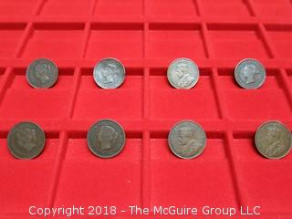 COLLECTION OF 8 CANADIAN LARGE PENNIES:  (3) 1859, (2) 1882, 1913, (2) 1917