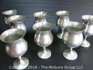 Set of 8 Pewter Stemmed Goblets