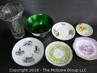 Assortment including collector plates, Wallace Color Clad bowl and large leaded glass vase