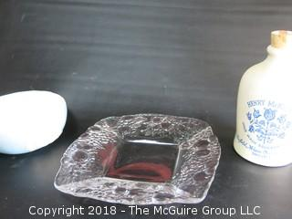Collection including cleart glass fruit bowl, ceramic serving bowl and Henry McKenna Bourbon jug