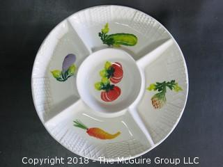 Hand painted sectional ceramic serving platter; made in Italy