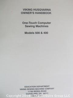 Viking Model 500 Computer Sewing Machine, Accessories, Notions and Fold out Cabinet; by Husqavarna; Sweden