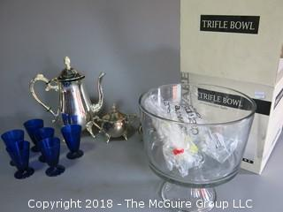 Collection including blue glass stems, clear glass trifle bowl and silverplated tea set