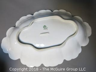 Hand painted oval serving bowl; marked on base