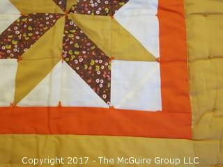 """1970's machine made quilt; 58 x 77"""""""