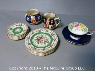 Assortment of dinnerware pieces including Burslem, Aynsley and Heinrich